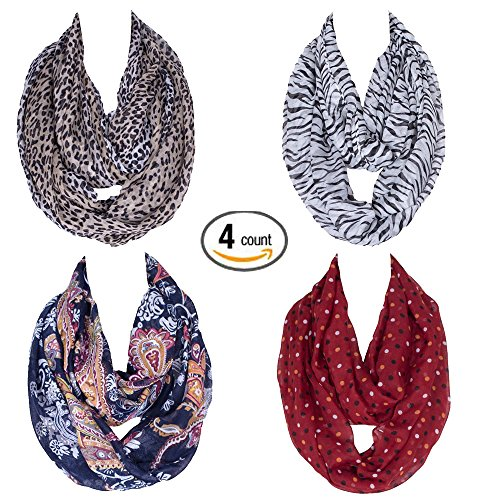 Gellwhu 4-Pack Women Soft Warm Lightweight Ring Circle Loop Infinity Scarves (4 Colors Set B) (Boots Print Zebra)