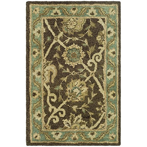 Safavieh Antiquities Collection AT21G Handmade Traditional Oriental Brown and Green Premium Wool Area Rug (2' x (Floral Pattern Green Wool)
