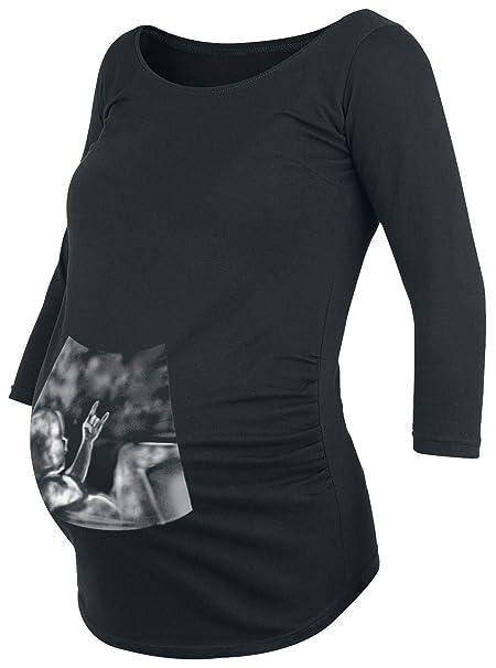 Moda Pre Mama Ultrasound Bebe Heavy Metal Camisa Manga Larga Negro: Amazon.es: Ropa y accesorios