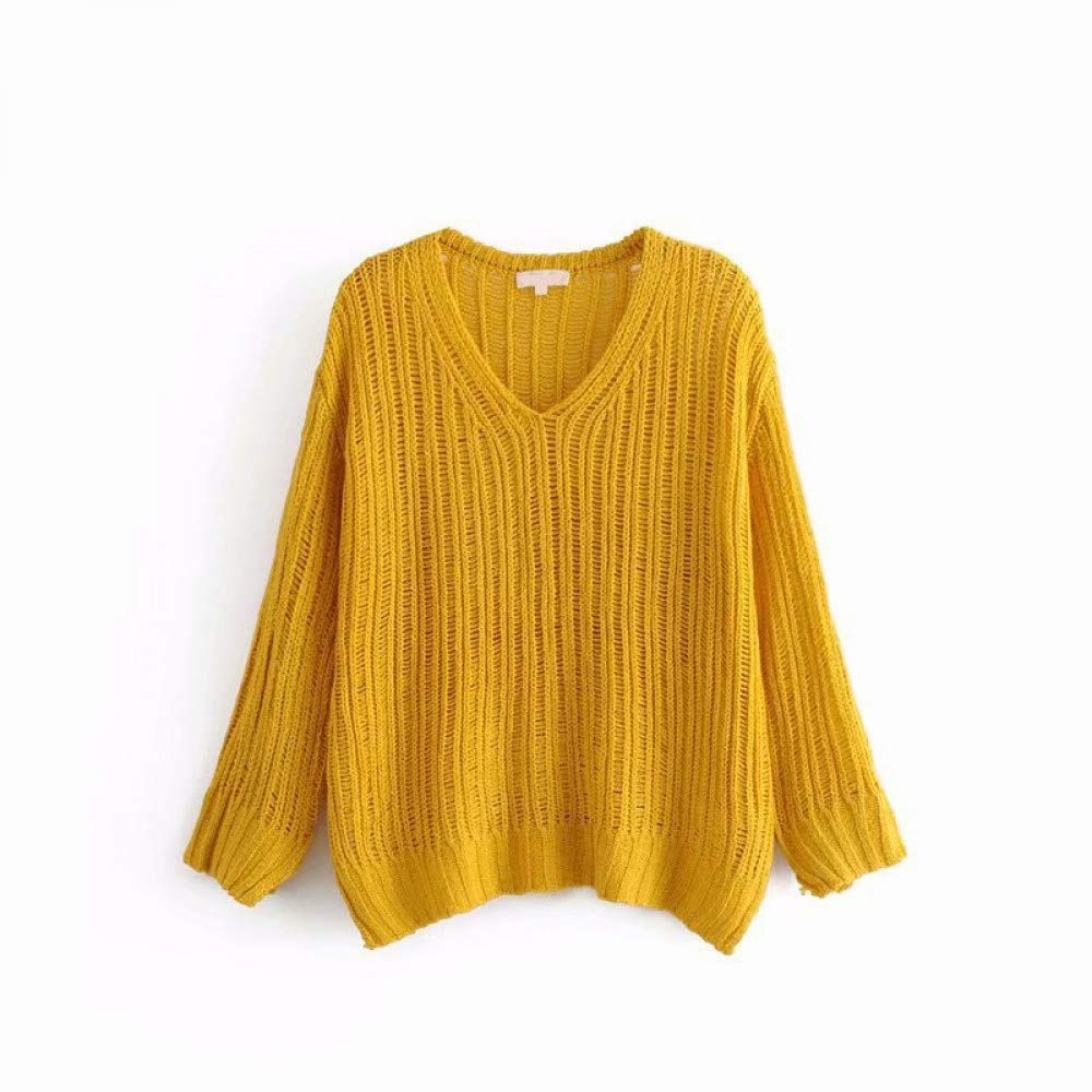 FUHENGMY Pullover Boho Bohemian Aushöhlen Strickpullover Sexy V-Ausschnitt Pullover Herbst Frauen Casual Langarm Pullover