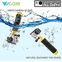 WoCase GoPro Handler DualFloat Floating Handle Hand Grip for GoPro HERO4 HERO3+/3/2/1 Cameras for ALL water sports (Scuba Diving Compatible/Storage Compartment/Lost Preventing Wrist strap/Portable with Carabiner)