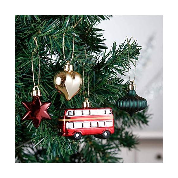 Valery Madelyn Palle di Natale 70 Pezzi di Palline di Natale, 3-10 cm di Strada di Campagna Rosso Verde e Oro Infrangibile Ornamenti di Palla di Natale 5 spesavip