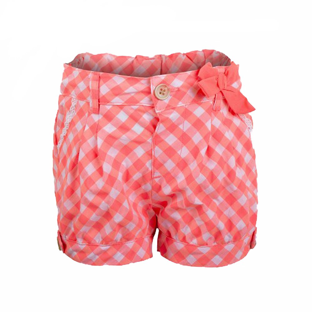 Lily & Lola Baby/Young Girls Check Pattern Shorts Salmon and White Age 1-4 Years