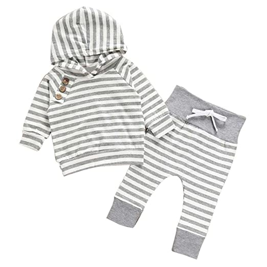 2719b7ddb5283 Mandystore 2pc/Set Newborn Kids Clothes Baby Girl Boy Outfits Hooded Stripe  T-shirt