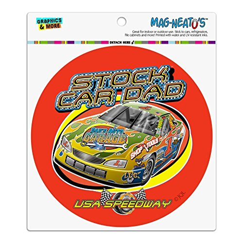 Graphics and More Stock Car Racing Dad USA Speedway Garage Automotive Car Refrigerator Locker Vinyl Circle Magnet