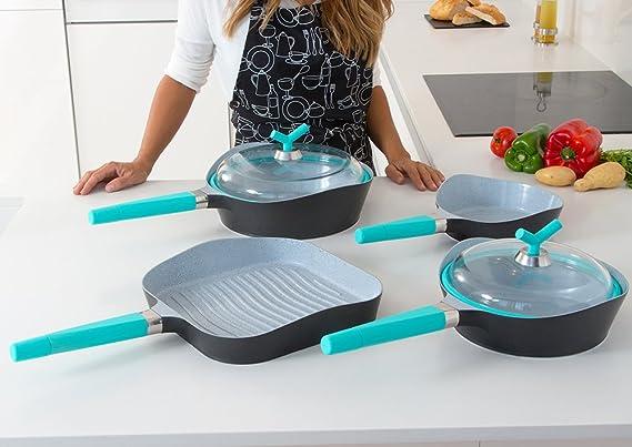 Cecotec Set de sartenes de Alta Gama Premium Black Stone 3 sartenes de diámetro 28cm, 24cm, 20cm y Parrilla de 28x28cm. Revestimiento Ceramium. Aptas para Todas Las cocinas. (Mangos de Color Azul):