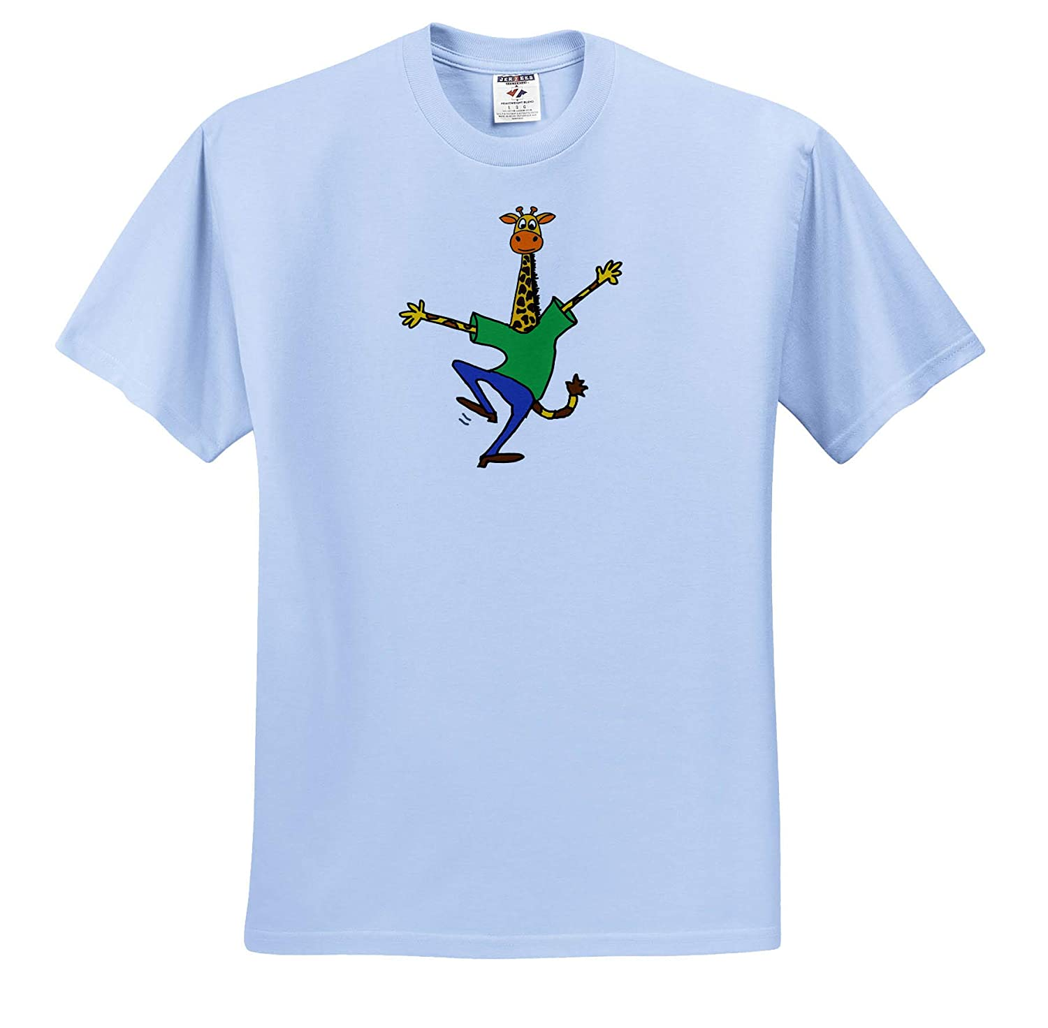 Funny Cute Happy Giraffe Dancing Cartoon 3dRose All Smiles Art Funny Adult T-Shirt XL ts/_319325