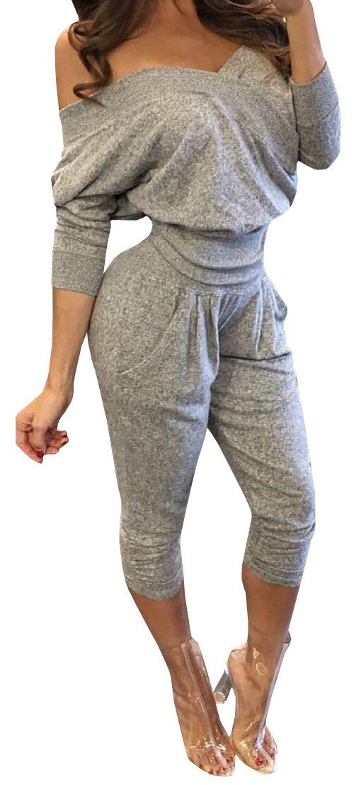 Imily Bela Women's Sweatheart Off-shoulder Top&pant Sweatsuit 2 Pieces