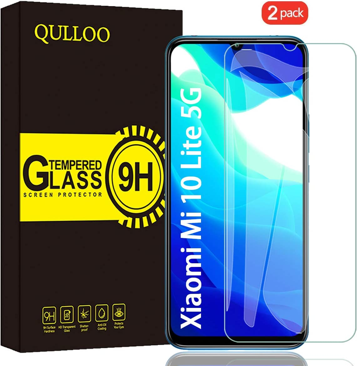 QULLOO Protector de Pantalla Xiaomi Mi 10 Lite 5G, Cristal Templado [9H Dureza][Alta Definición][Fácil de Instalar] para Xiaomi Mi 10 Lite 5G