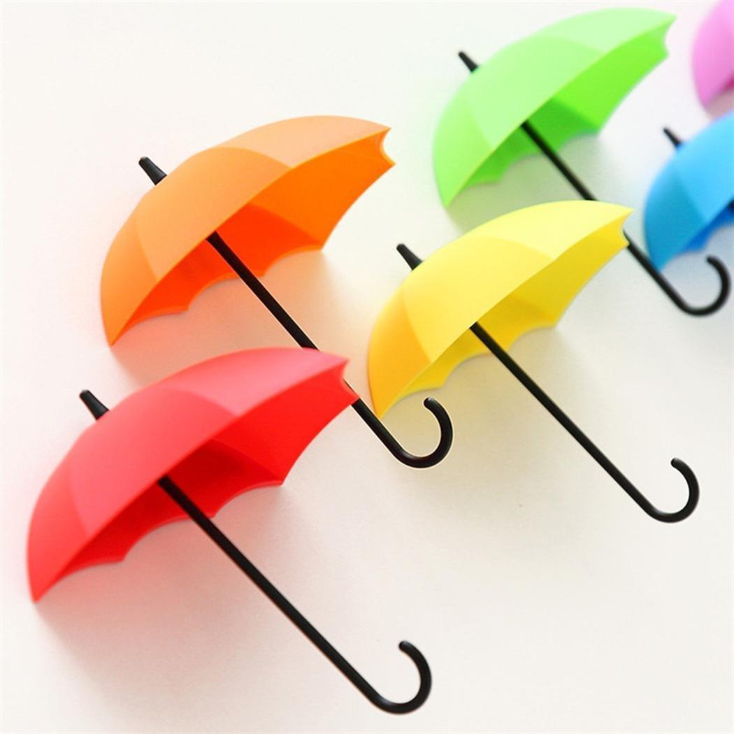 Yealsha 3Pcs Colorful Umbrella Wall Rack Hooks Key Rack Holder Hanger