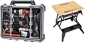 BLACK+DECKER BDCDMT1206KITC Matrix 6 Tool Combo Kit with Case with BLACK+DECKER WM425-A Portable Project Center and Vise