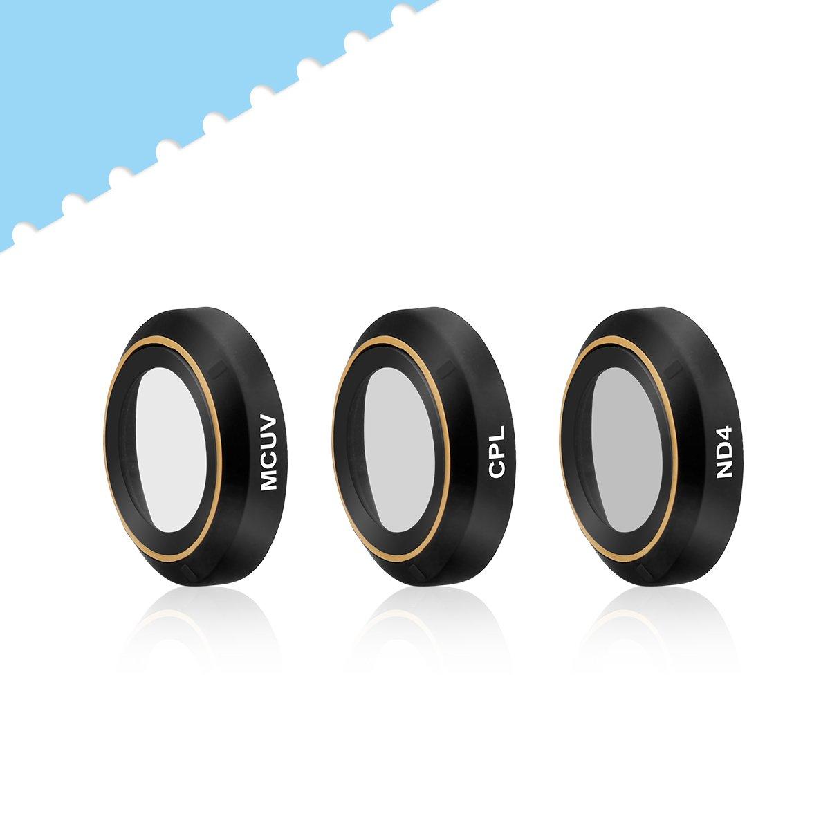 [UPGRADE] Powerextra 3-Pack DJI Mavic Pro & Platinum HD Lens Filters Kits (ND4 + UV + CPL Filter) (Pass Gimbal Calibration)