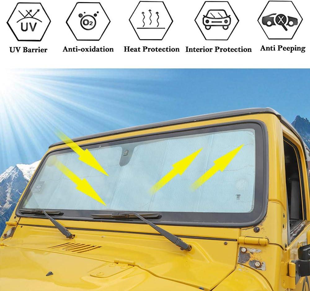 Windschutzscheibe Sonnenschutz Auto Frontscheibe Anti-UV-Strahlenschutz Sonnenschutz Abdeckung Zubeh/ör Passend F/ür Jeep Wrangler TJ JK 1997-2017