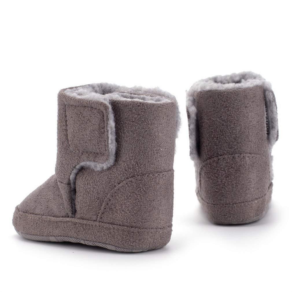 Lukis Infant Babys Faux Suede Warm Booties Thick Fur Lined Winter Anti Slip Soft Prewalker Shoes Snow Boots
