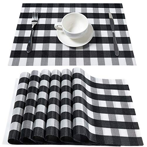 DOLOPL Buffalo Check Placemats, Table Mats,Placemat Set of 6 Non-Slip Washable Place Mats,Heat Resistant Kitchen Tablemats for Dining Table (Black and White Buffalo Check)