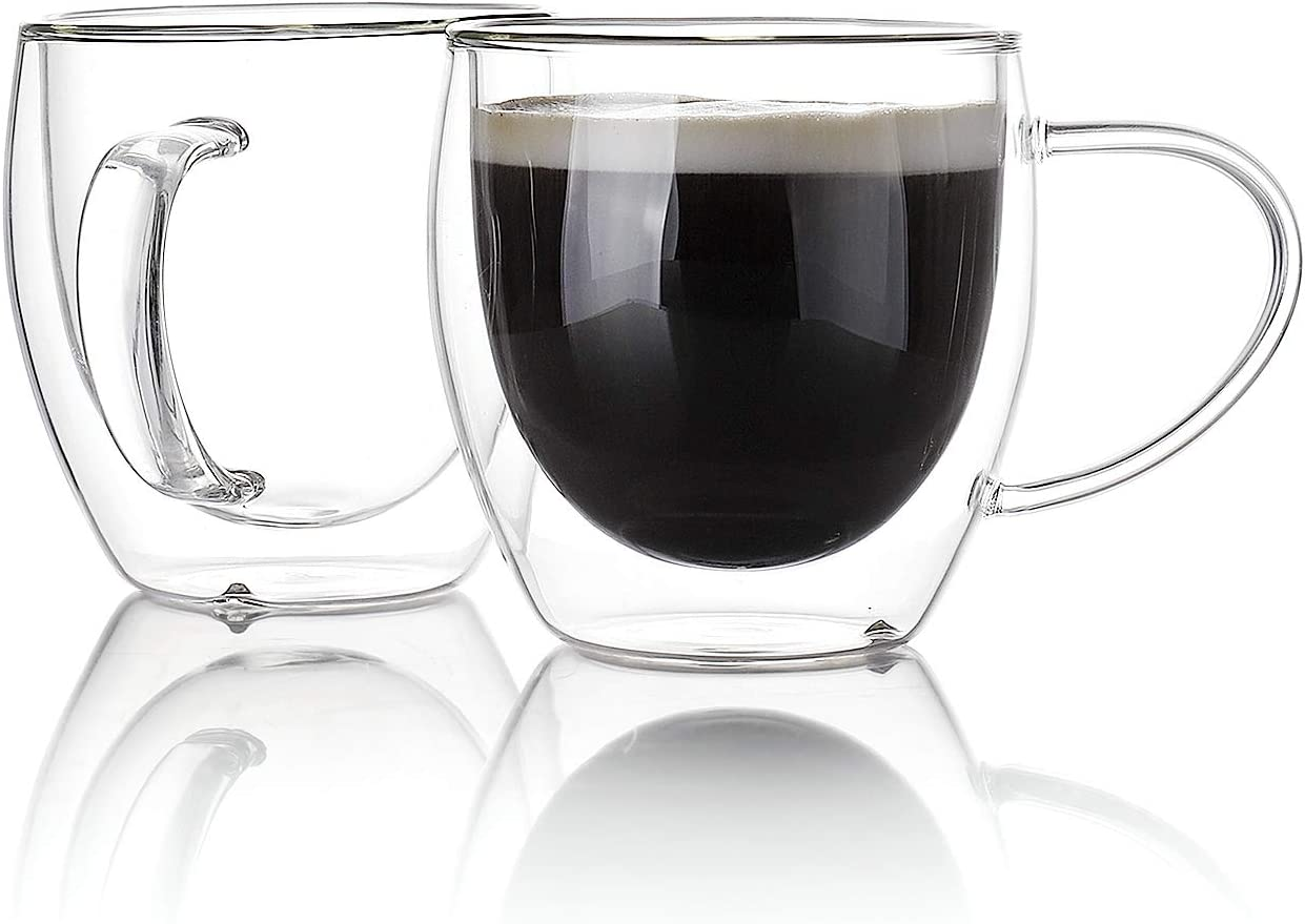Sweese 4611 Glass coffee mugs - Double Wall Insulated Glass Coffee Tea Cup Set with Handle, Perfect for Espresso, Latte, Cappuccino, 8 oz, Set of 4