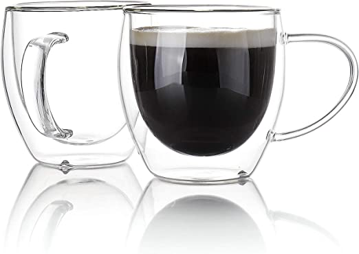 Sweese 4619 Glass Coffee Cups Double Wall Glass Set of 2 Insulated Latte Mugs,12 oz