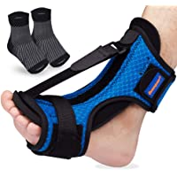 Plantar Fasciitis Night Splint Foot Support + Compression Plantar Fasciitis Socks - Adjustable Elastic Strap Plantar…