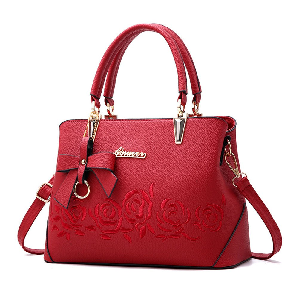 Women Fashion Tote Handbags Shoulder Bags Top Handle Bags for Women Purse with Pendant Wine Red