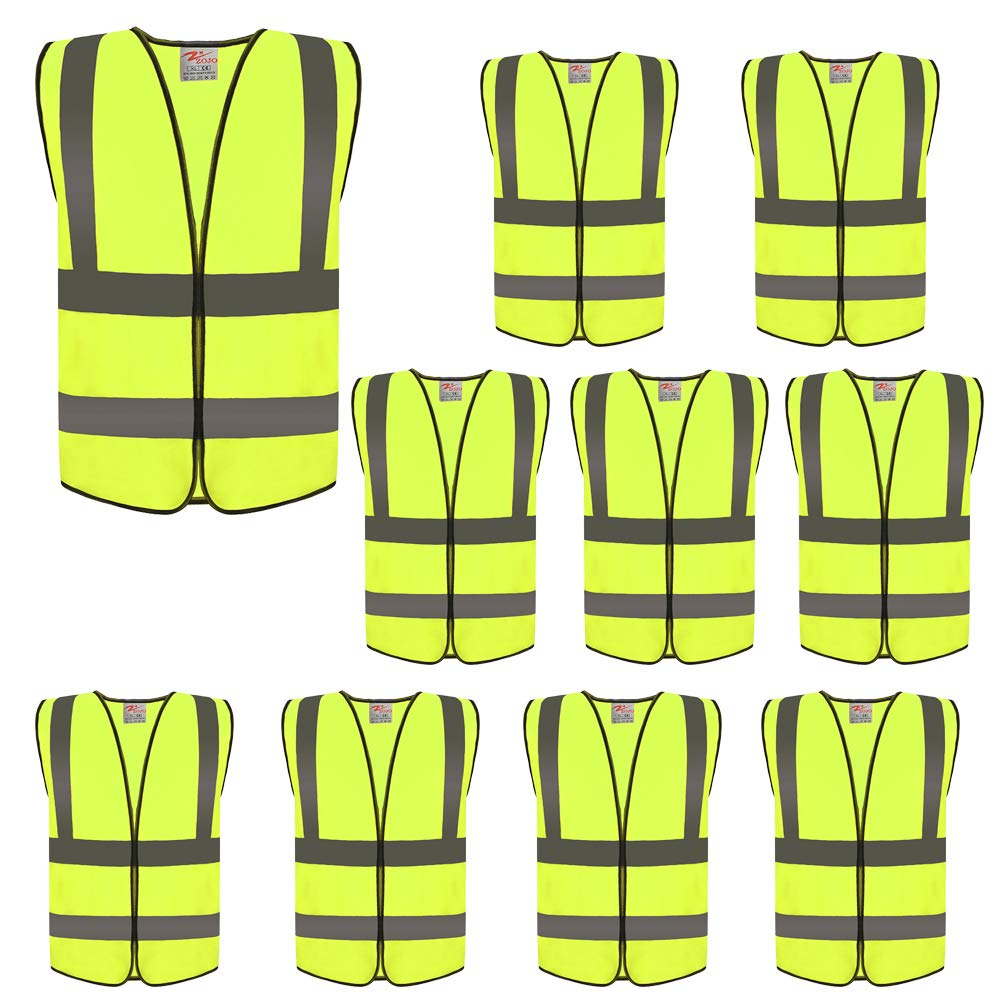 ZOJO High Visibility Reflective Vests,Adjustable Size,Lightweight Mesh Fabric, Wholesale Safety Vest for Outdoor Works, Cycling, Jogging, Walking,Sports - Fits for Men and Women (10 Pack, Neon Yellow) by zojo