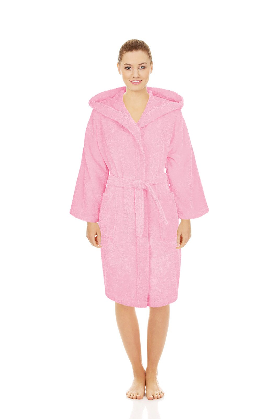 Silken Teenager Robe 100% Turkish Cotton Terry Hooded Bathrobe Extremely Absorbent Towel (Pink, X-Large | 44'' | 12+ Ages)