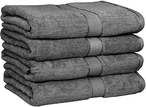Utopia Towels 30x56 Inches Luxury Cotton Bath Towels, 4 Pack, Grey (Grey)
