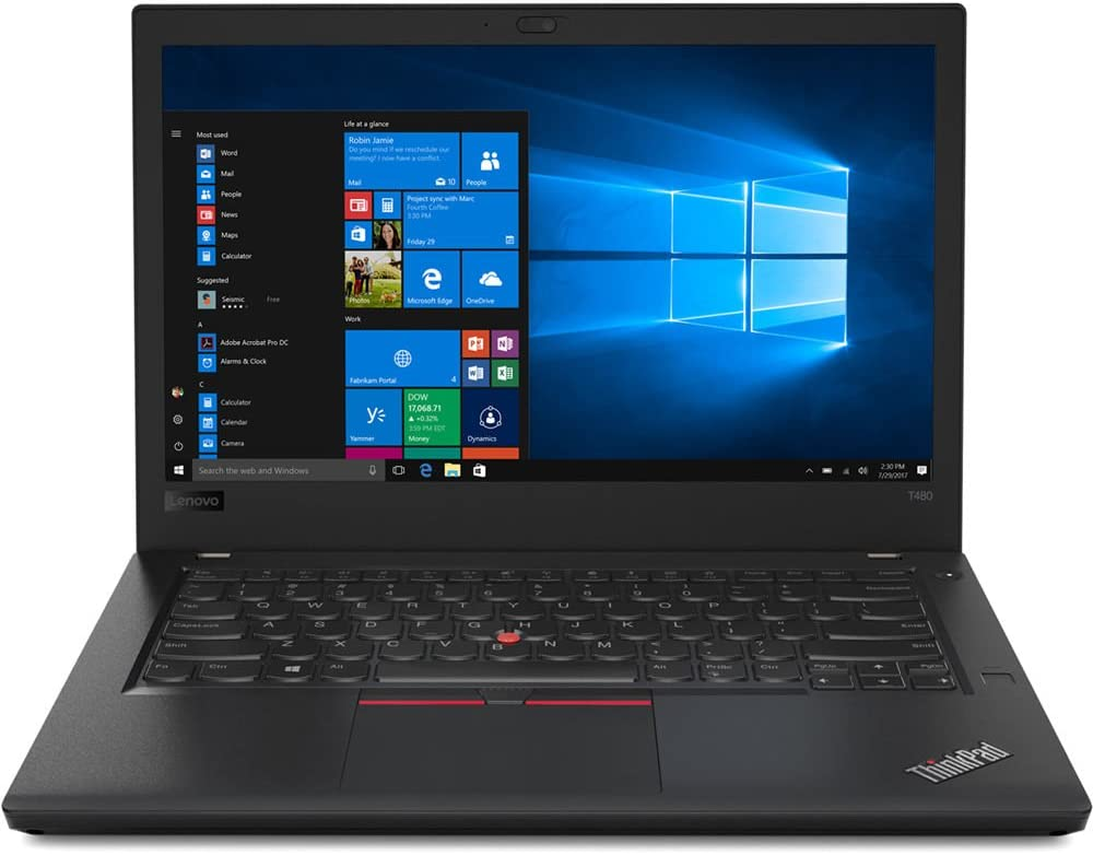 "Lenovo ThinkPad T480 14"" Laptop - 8th Gen Intel Quad-Core i5-8250U Processor up to 3.40 GHz, 32GB Memory, 512GB SSD, Intel UHD Graphics 620, Windows 10 Pro (64-bit)"