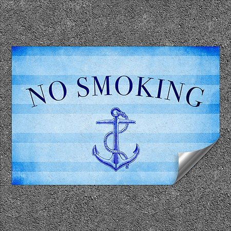 CGSignLab |''No Smoking -Nautical Stripes'' Heavy-Duty Industrial Self-Adhesive Aluminum Wall Decal | 27''x18''