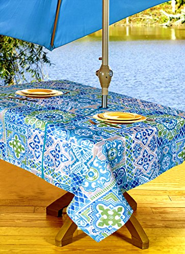 High Quality Outdoor Tablecloths, Umbrella Hole With Zipper Patio Tablecloth, Stain Resistant, Spill Proof, Shrink Resistant, Iron-Free, Beauty and Performance (60'' x 90'', Geo Turquoise)