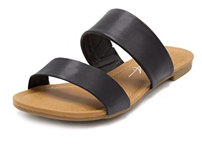f268f9924d8308 Mari A Women s Marlee Flat Two Strap Sandal 2 Band Slide 10 Black Black