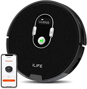 ILIFE A7 Robotic Vacuum Cleaner with High Suction, LCD Display, Multi-Task Schedule, Path Mode and Dual Roller Brushes for Hard Floor and Thin Carpets (Renewed)