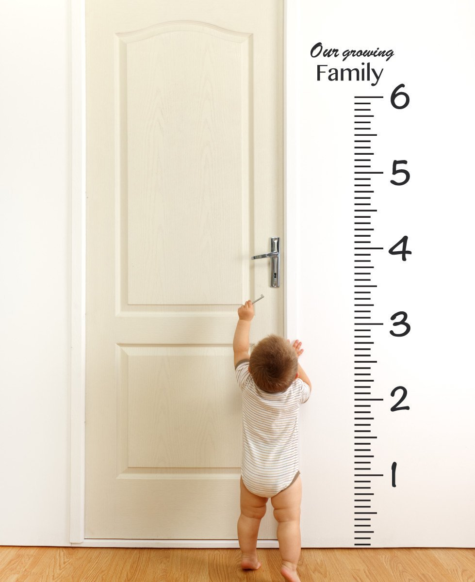 Giant Vinyl Growth Chart Kit | Kids DIY Height Wall Ruler Large Measuring Tape Sticker Number Decal Sticker (Black, 73x23 inches)