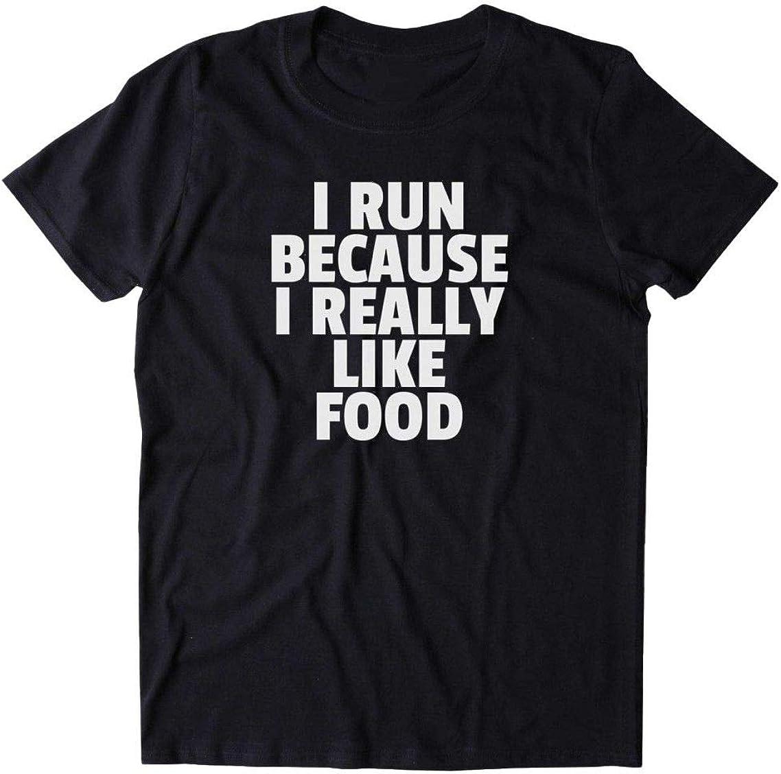 Aonani & Partner I-Run-Because-I-Really-Like-Food-Shirt-Funny-Running-Work-Out-Gym-Exercise-ClothingT-Shirt-Size-Guid
