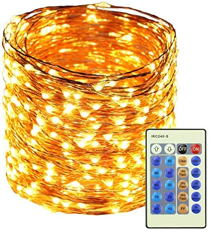 RUICHEN Dimmable LED Fairy String Lights Plug in with Remote, 165Ft 500 LED Waterproof Copper Wire Fairy Lights Decorative Christmas Starry Lights for Bedroom,Wedding,Patio,Party Warm White