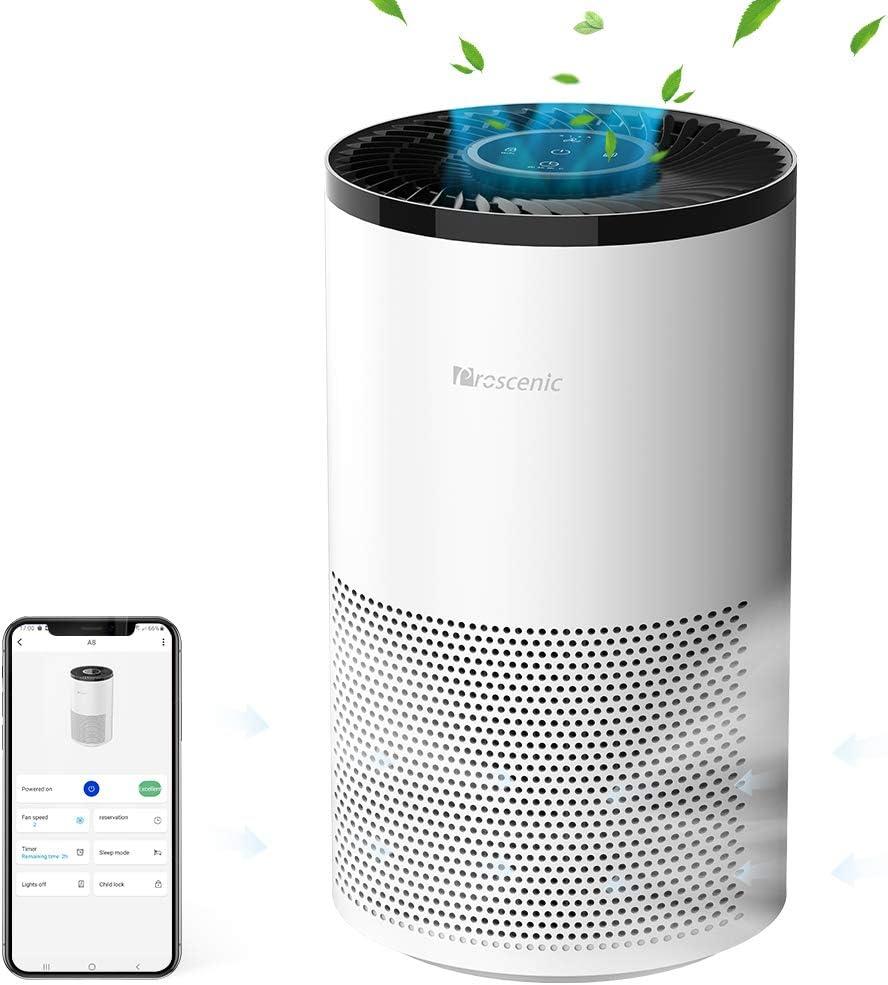 proscenic A8 Purificador de Aire Compatible con App y Alexa, 4 Etapas de Filtración, HEPA H13 y Carbón Activo,CADR hasta 220m³/h, Sirve para el Olor a Tabaco,Metano,Bacterias,Polen y Caspa de Mascota