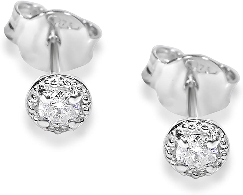 MILLE AMORI ∞ Pendientes Mujer Oro y Diamantes - Oro Blanco 9 Kt 375 ∞ Diamantes 0.04 Kt