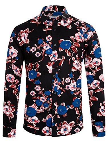 ELETOP Men's Floral Long Sleeve Slim Fit Cotton Shirt Causal Button Down Shirt Peach Blossom Print ES004 (Floral Print Cotton Shirt)