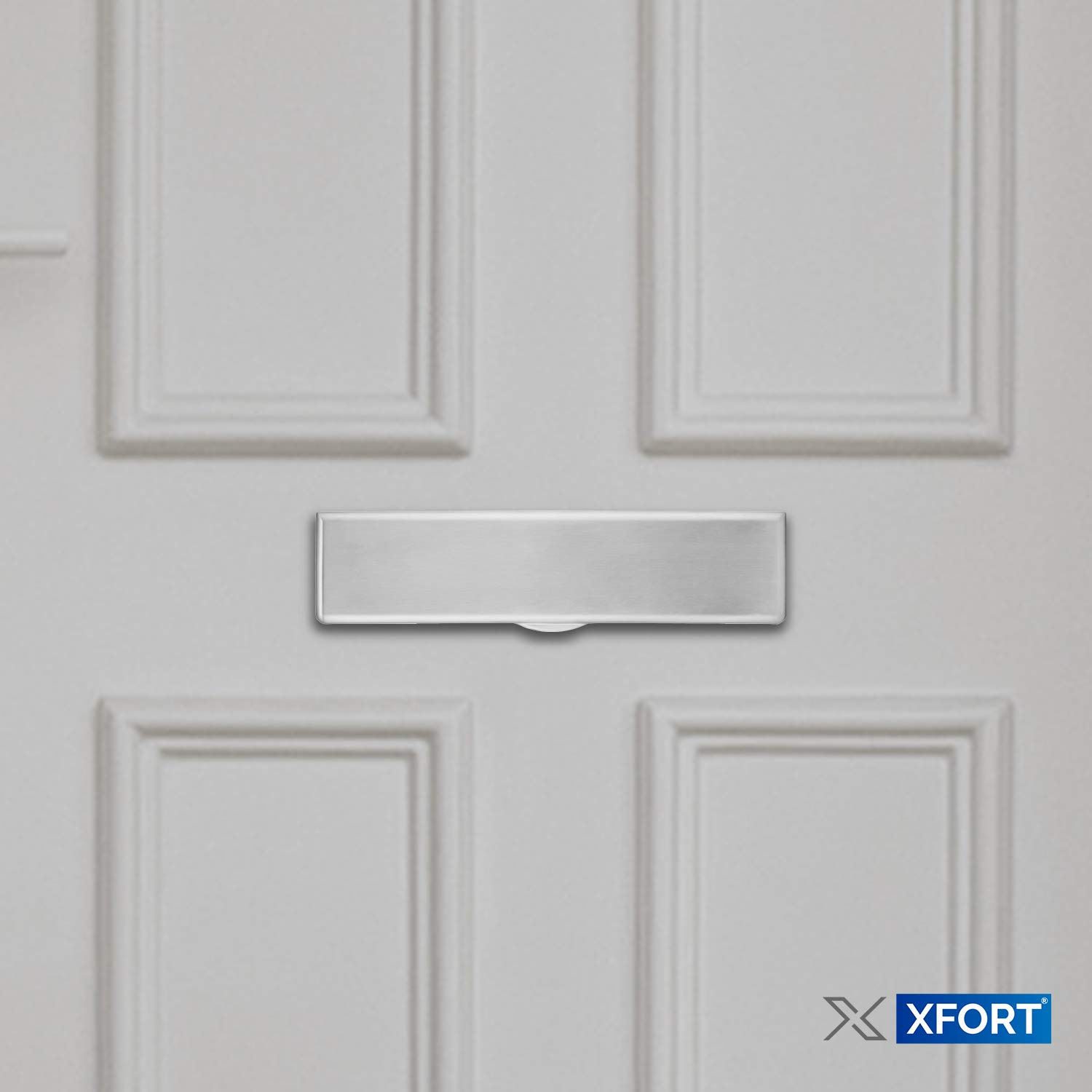 uPVC and Composite Doors XFORT/® 12 Inch Letterplate for Wooden Letterbox Plate with White Powder Coat Finish Unique Frameless Design for an Elegant Modern Touch for Your Front Door. Metal