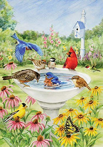 Toland Home Garden Birdy Dippin 28 x 40 Inch Decorative Spring Summer Bird Bath Flower House (Birdhouses House Flag)