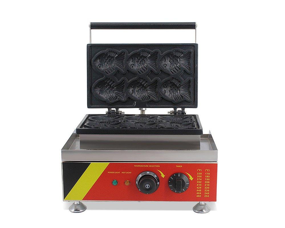 6pcs Japanese Taiyaki Maker Waffle Maker Fish-shaped Cake Ice Cream Baking Machine (220V AU/EU/UK PLUG)