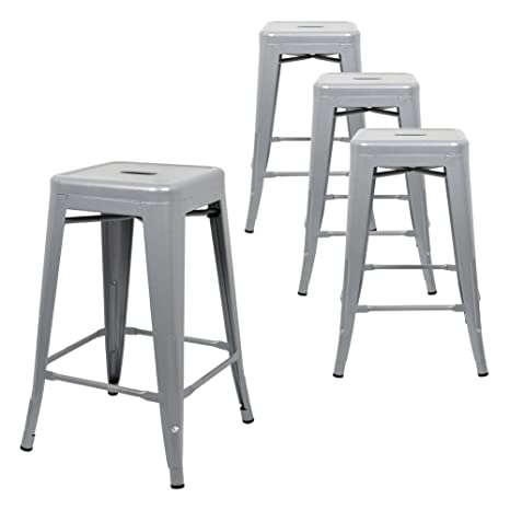 Amazoncom Intimate Wm Heart 24 Metal Bar Stool Backless Tolix