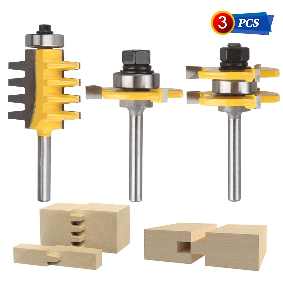 Jooyle Tongue and Groove Router Bits, 3PCS 1/4-Inch Shank Router Bit Set Finger Joint Router Bit Teeth Adjustable Wood Milling Cutter Perfect for Density Boards, Solid wood, MDF, Chipboard, Etc by Jooyle