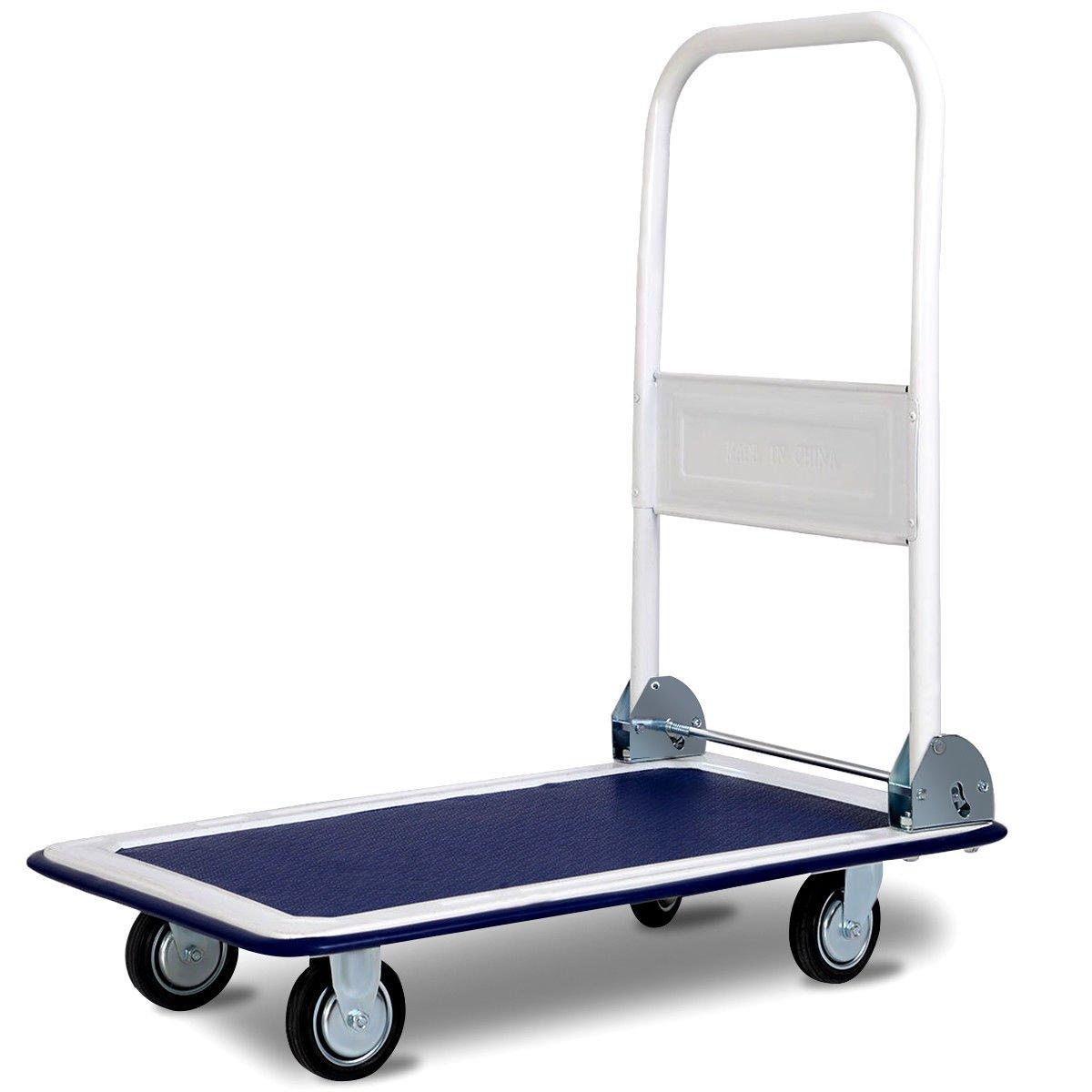 Goplus Folding Platform Cart 330LBS Rolling Flatbed Cart Hand Platform Truck Push Dolly for Loading