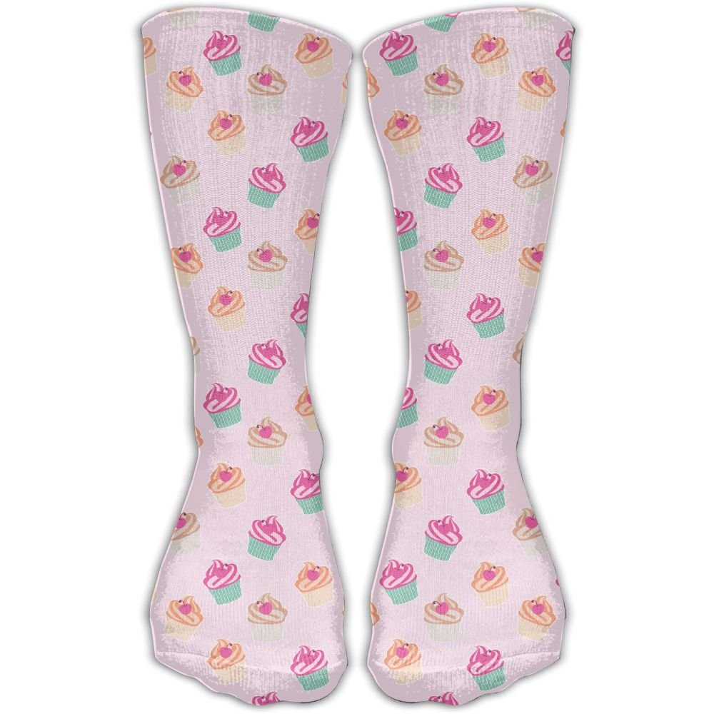 Protect Wrist For Cycling Moisture Control Elastic Sock Tube Socks Pink Cupcakes Athletic Soccer Socks