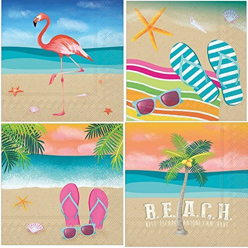 Tropical Beach Theme Summer Cocktail Napkins Variety Pack 40 Total Napkins ()