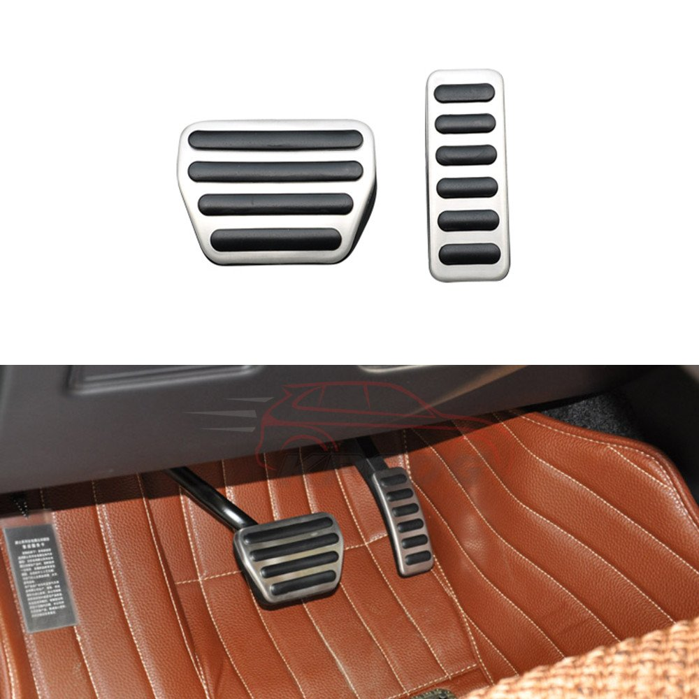 2 Pcs Fit for Land Rover Range Rover Sport 2014-2017 OEM Design Stainless Steel Brake Foot Rest Pedals Plate