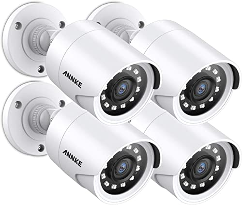 ANNKE 4 Packed Outdoor Security Camera Kits HD TVI Add-on 1080P Weatherproof Bullet Cameras with IR Night Vision