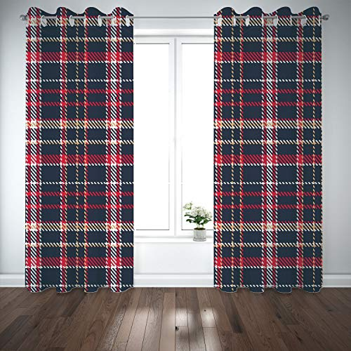 (SCOCICI Grommet Blackout Window Curtains Drapes [ Red Plaid,Classic Quilt Checkerboard Pattern Pixel Art Inspirations Traditional Image Decorative,Multicolor] Living Room Bedroom Kitchen)