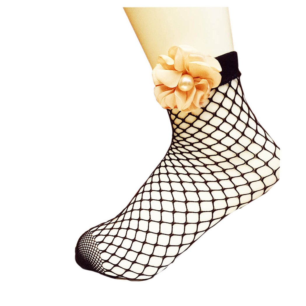 Women Fishnet Socks Inkach Stylish Girls Summer Soft Lace Fishnet Mesh with Pearl Flower Short Socks Net