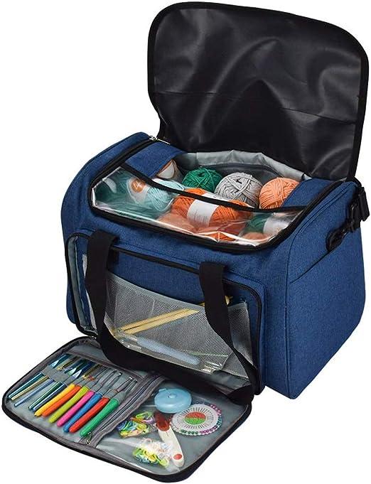 QEES GJB980 - Estuche para agujas de tejer para hilos, ganchillo y otros accesorios pequeños, bolsa de almacenamiento de hilo de viaje 38L x 25W x 26H CM 2#Azul: Amazon.es: Bricolaje y